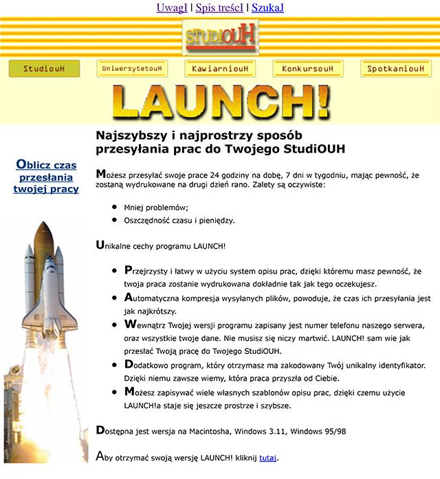 LAUNCH! na pierwszej stronie internetowej Studiouh