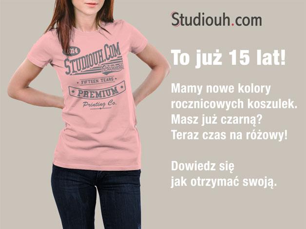 Różowe koszulki rocznicowe na 15 lat Studiouh