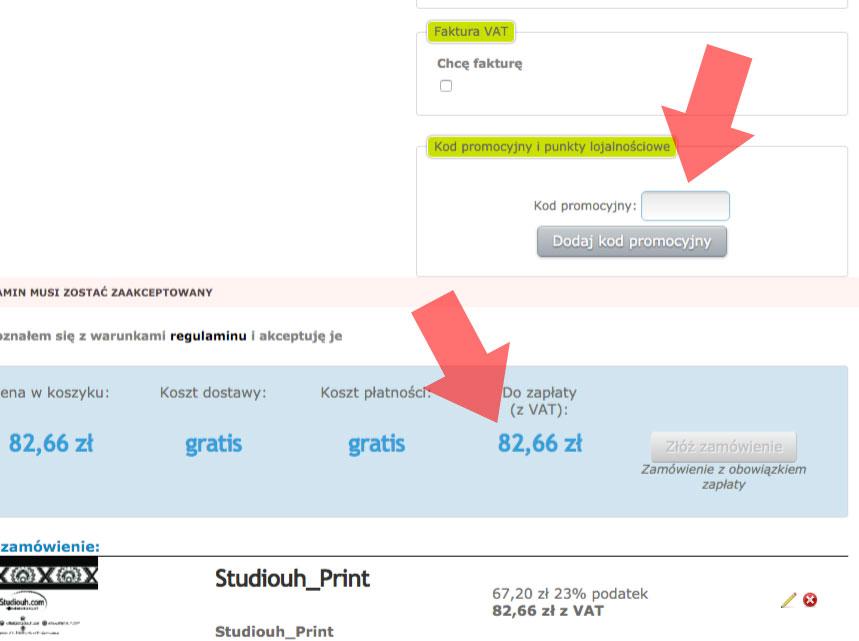 Używanie kodów promocyjnych w Studiouh.com
